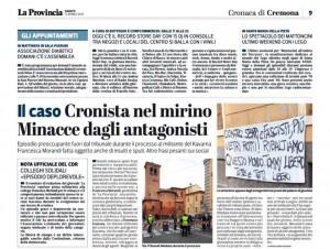 Cremona: sputi, insulti e minacce a giornalista