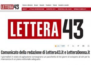 Il comunicato del Cdr pubblicato su Lettera43.it