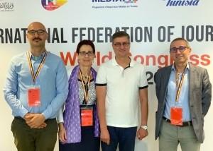 La delegazione italiana con il nuovo presidente della Ifj, Younes M'Jahed