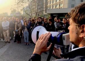 Un momento dell'assemblea dei giornalisti a Bologna