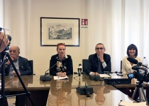 Un momento della conferenza stampa nella sede dell'Inpgi